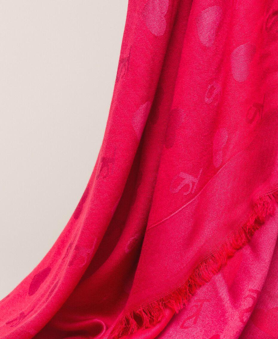 Куфия с бахромой, с жаккардовыми сердечками и логотипами Бежевый Cremino женщина 999TA436D-02