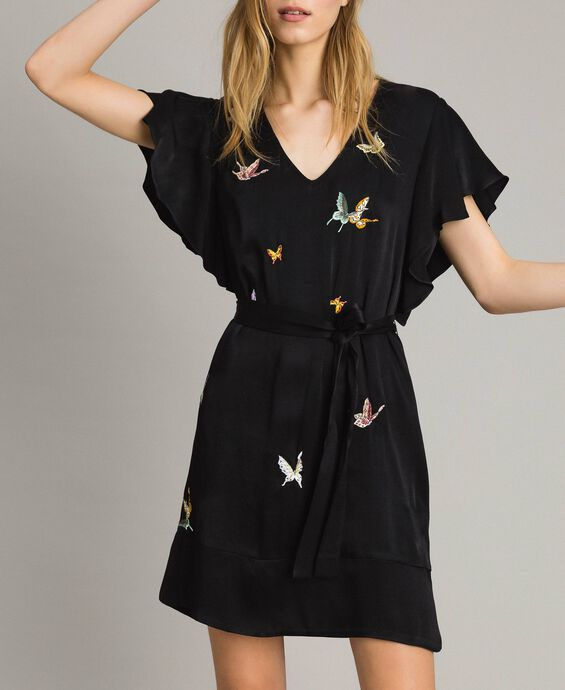 Satin dress with butterfly embroidery