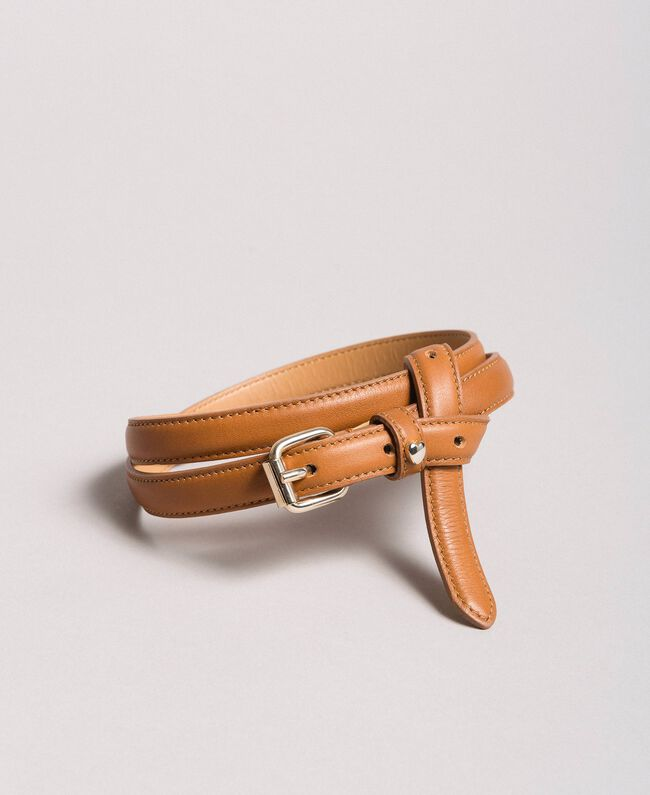 Leather belt Leather Brown Woman 191TA4309-01