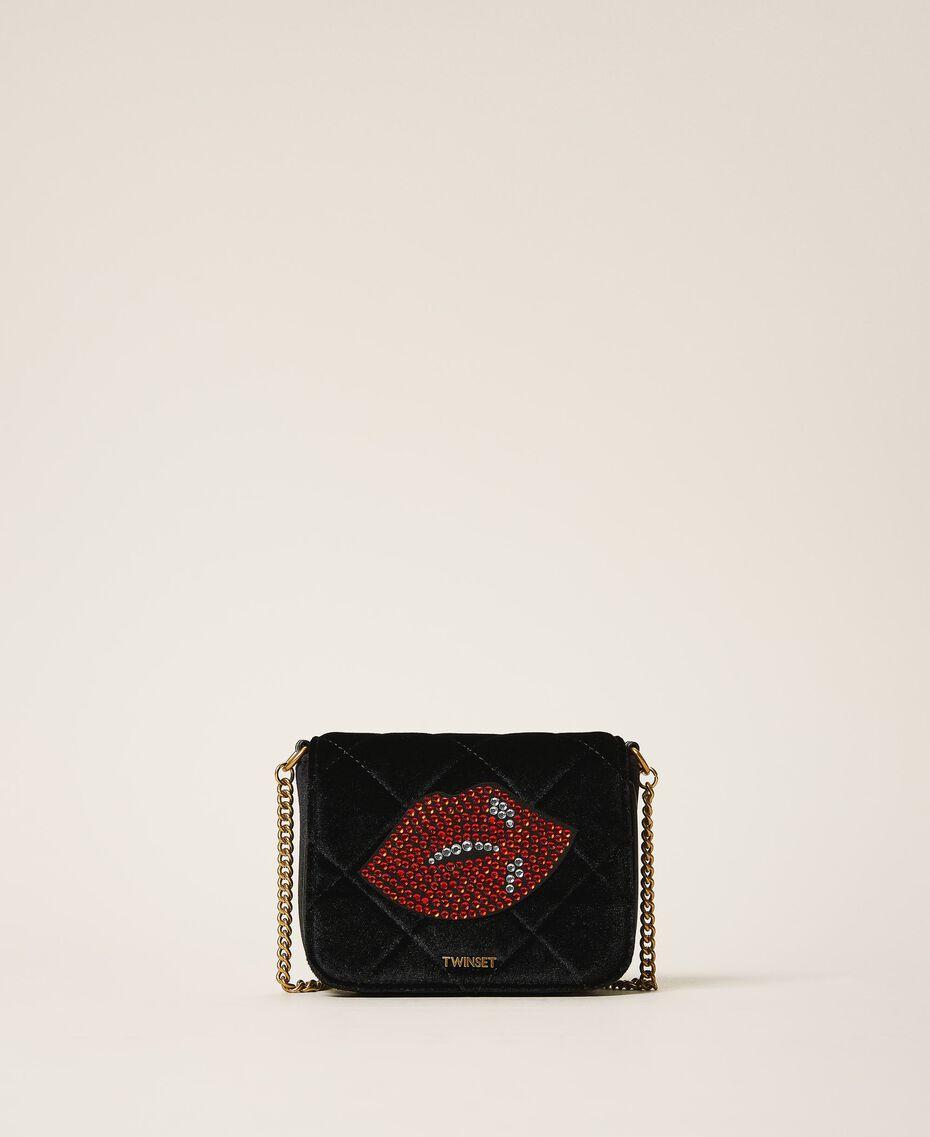 Velvet shoulder bag with patch Black Woman 202TD8280-01