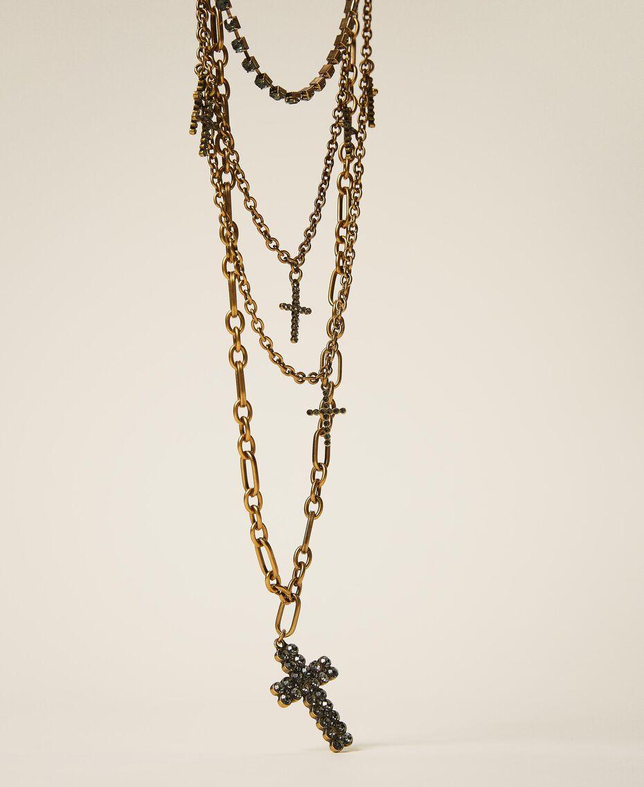 Mehrreihige Halskette mit Strasskreuzen Black Diamond Schwarz Frau 202TA4316-01