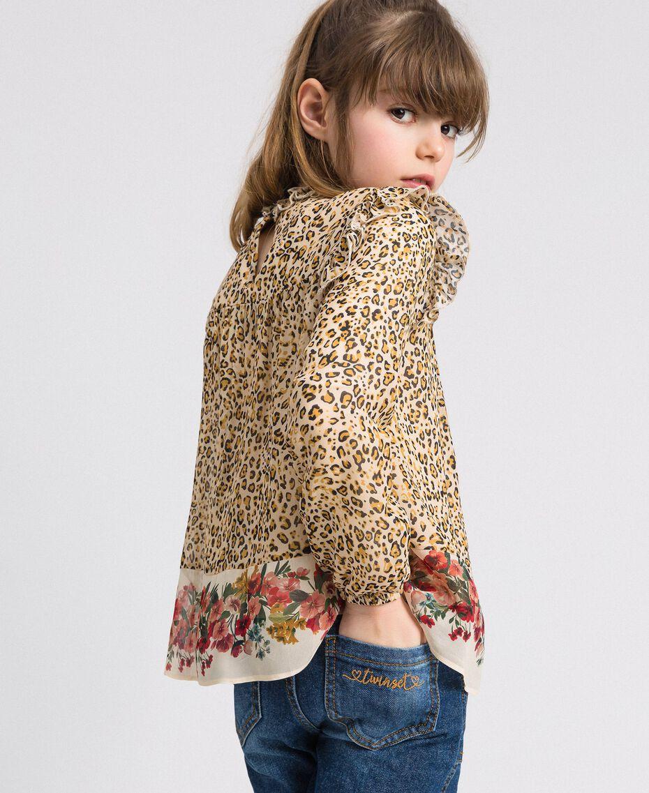 Blusa de georgette con animal print y flores Estampado Leopardo / Flor Niño 192GJ2571-03
