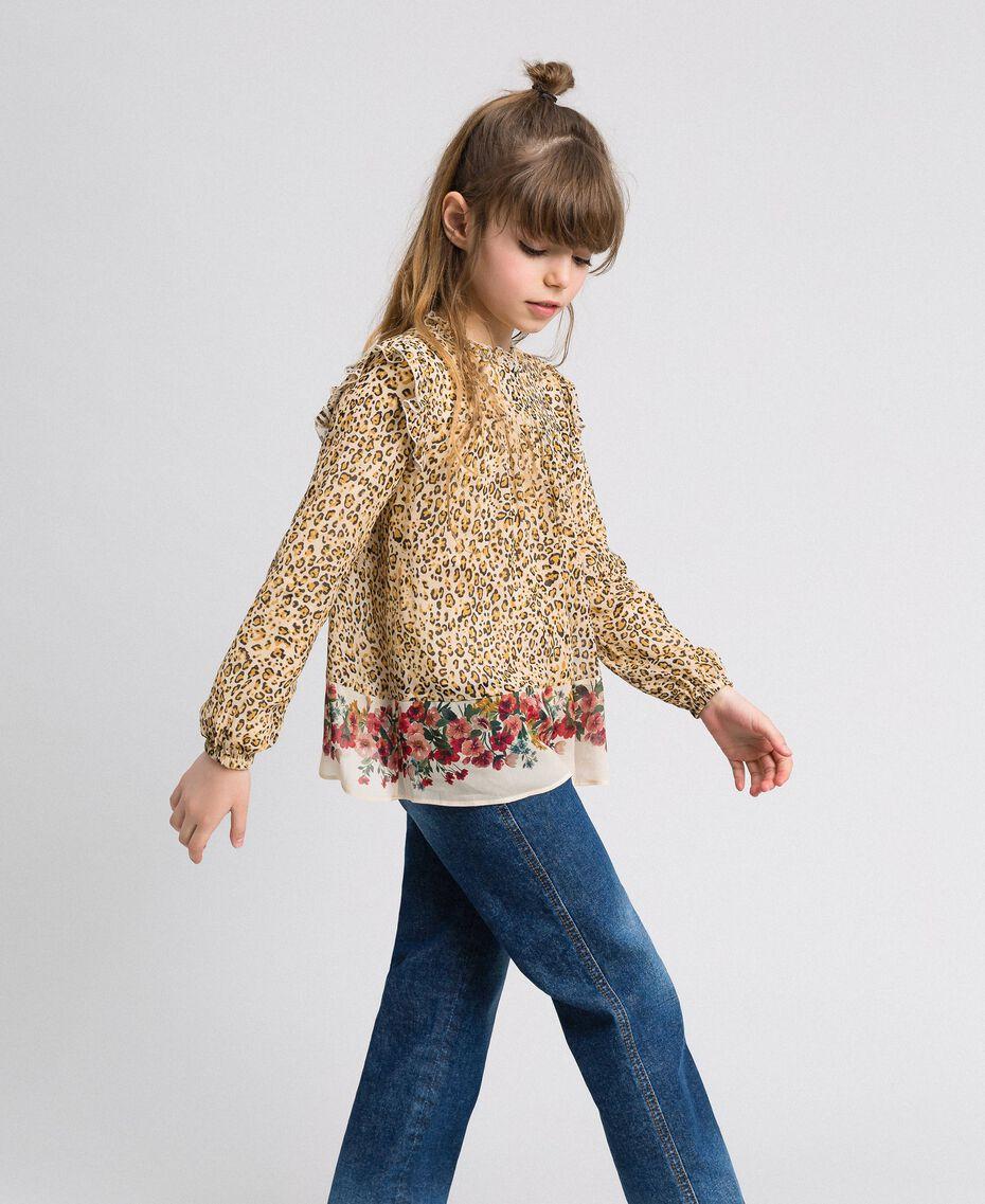 Blusa in georgette animalier e fiori Stampa Leopardo / Fiore Bambina 192GJ2571-02