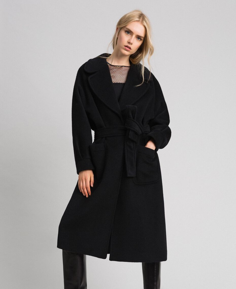 Long wool cloth coat Black Woman 192TT2600-02