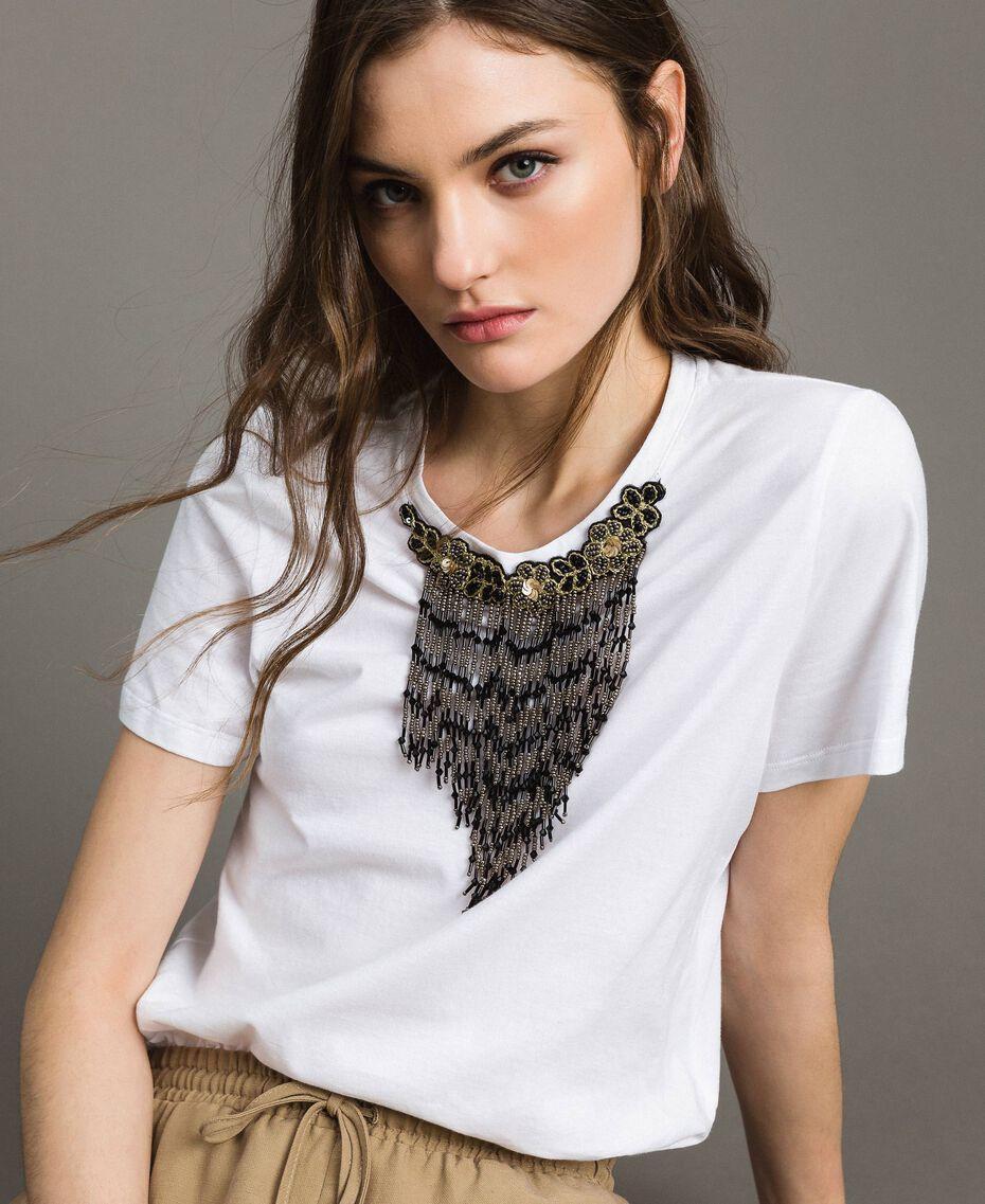 T-shirt avec broderie et franges Blanc Femme 191TT2204-01