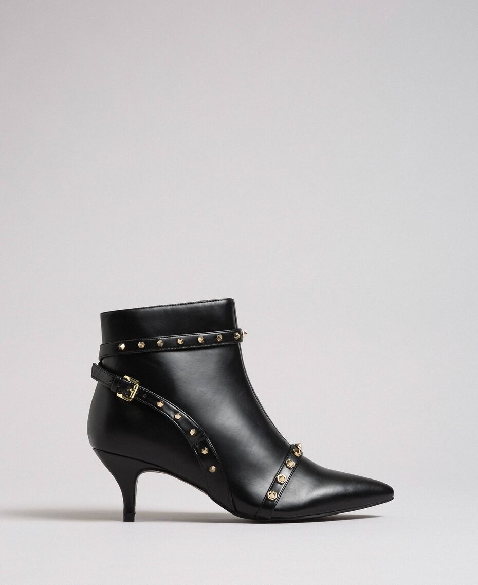 Faux leather ankle boots with studs Black Woman 192MCT050-03