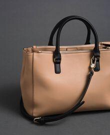 Two-tone faux leather shopper Irish Cream / Blossom Pink Woman 192MA7100-03