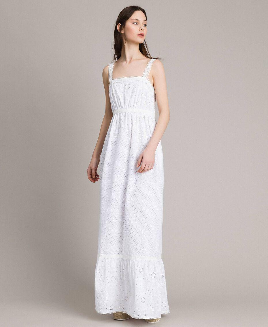 Robe longue en broderie anglaise à volant Blanc Femme 191MT2033-02