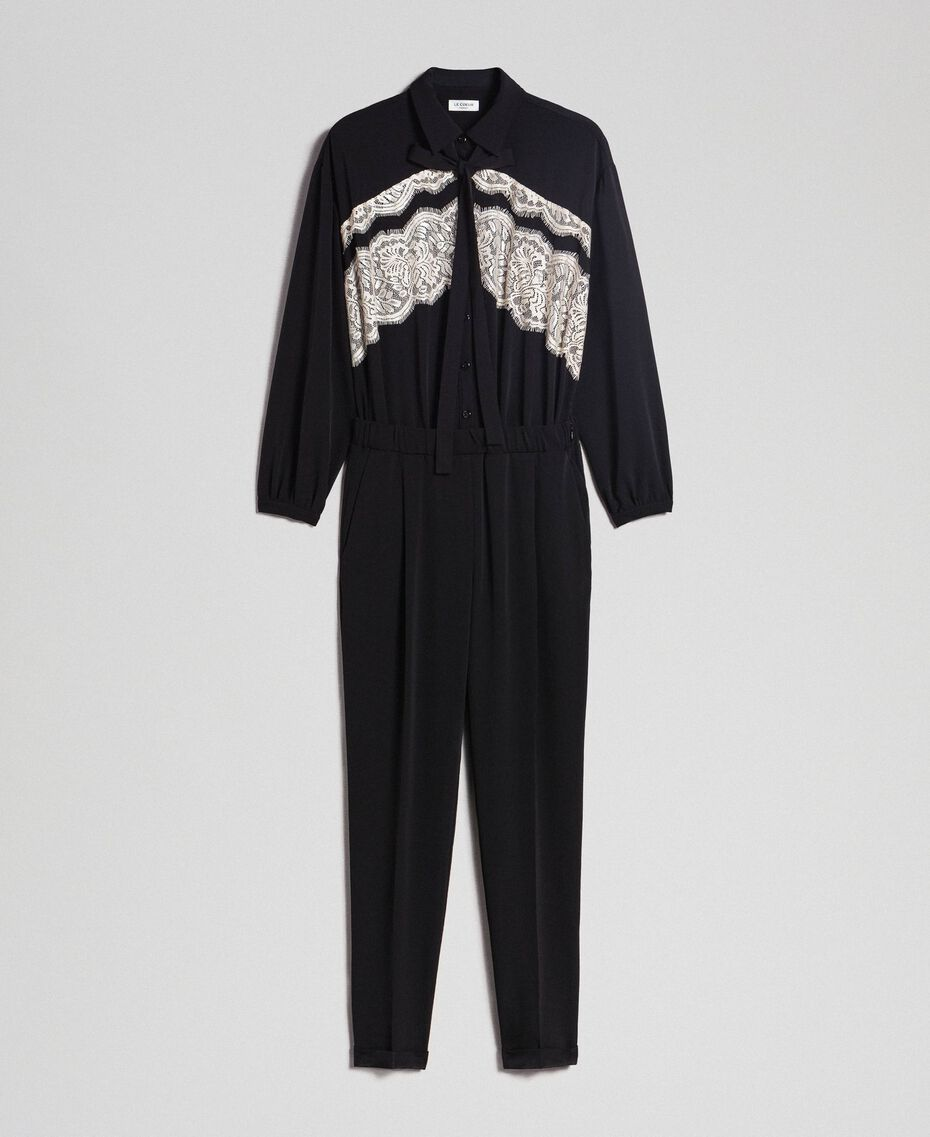 Lace jumpsuit with removable collar Black Woman 192ST2167-0S