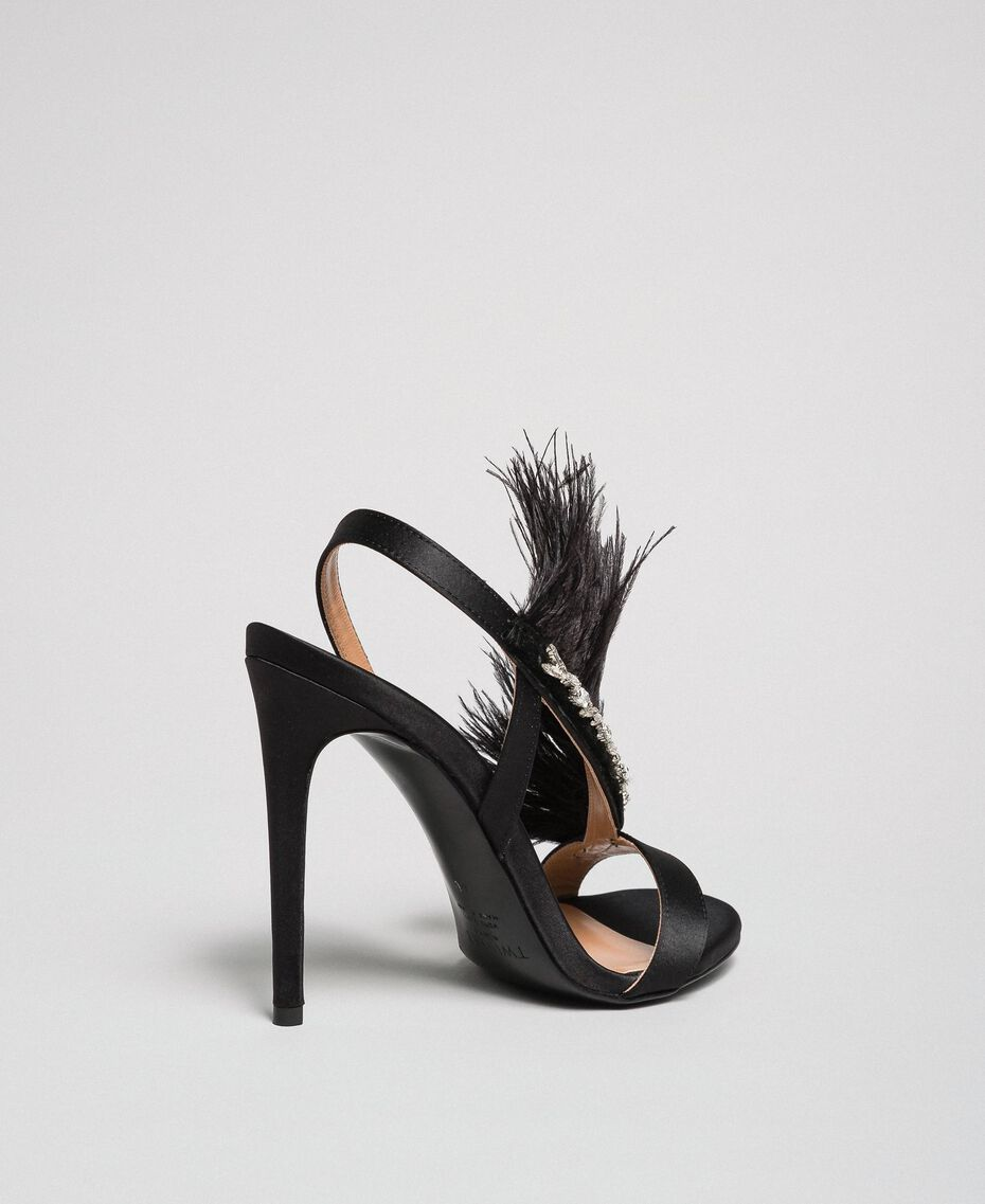 Satin sandals with feathers Black Woman 192TQP050-02