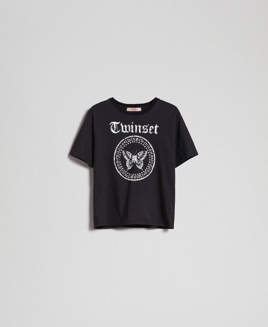 T-Shirt mit Schmetterling-Logo-Print Schwarz Frau 192TP2712-0S