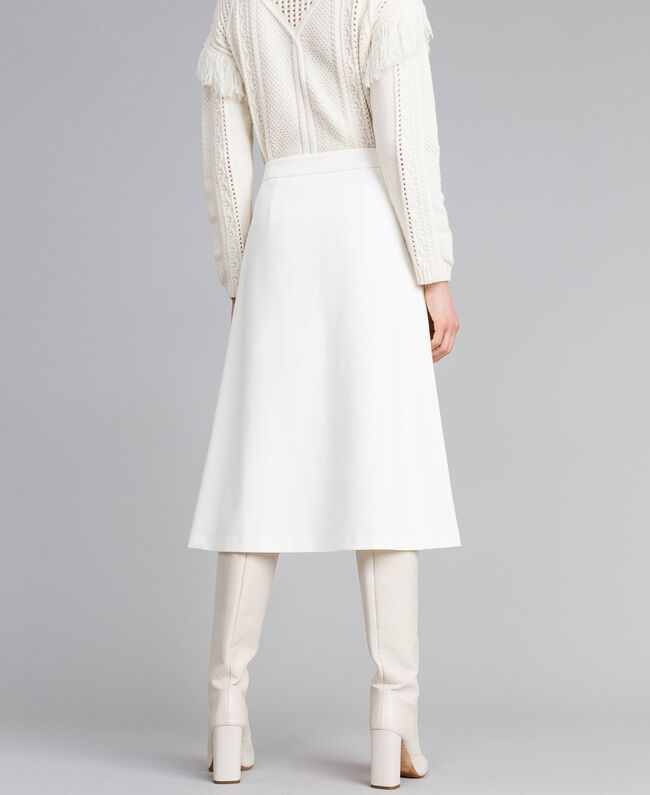 Gonna longuette in punto Milano Bianco Neve Donna PA8213-03