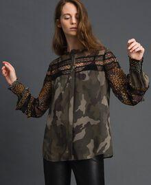 Chemise imprimée camouflage et floral Imprimé Patch Fleur Camouflage Femme 192TT2123-02