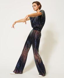 Bluse mit Alloverpailletten im Farbverlauf Mehrfarbige irisierende Pailletten Frau 202MP2481-03