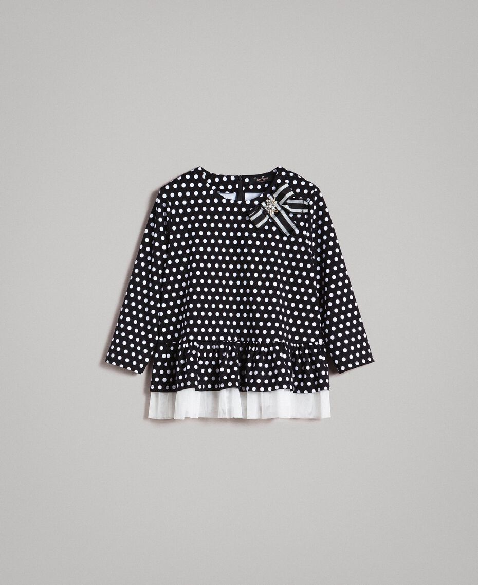 Bow shaped brooch polka dot blouse Two-tone Black / White Woman 191MP2363-0S