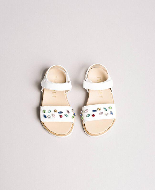 Sandals with multicolour stones White Child 191GCB150-04
