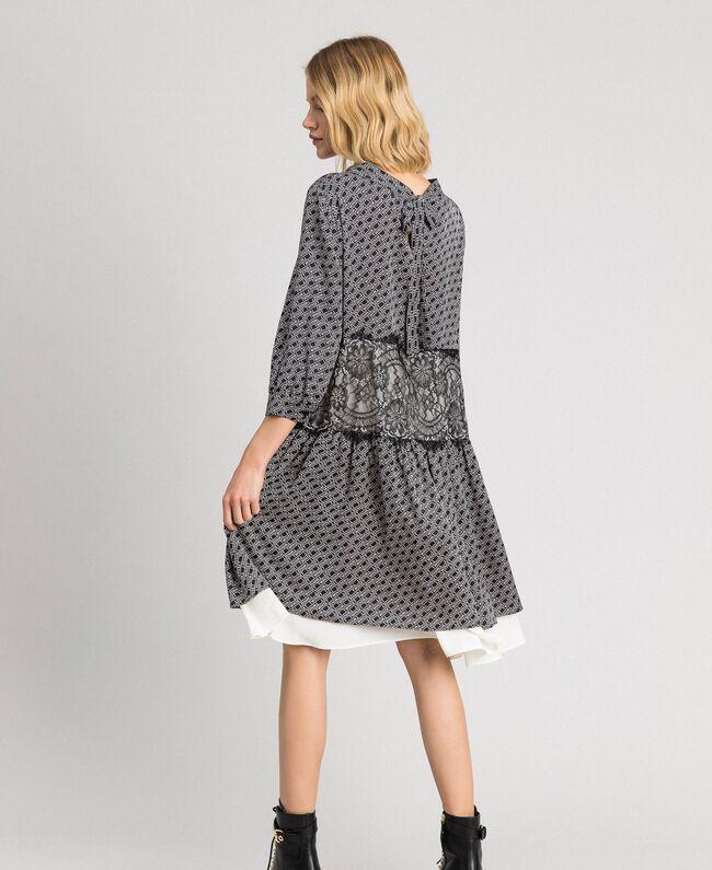 Kleid aus Twill mit Logoprint Logoprint Schwarz / Schneeweiß Frau 192TP258C-03