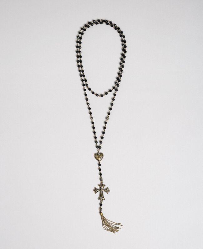 Sautoir avec cœur, croix et pompon Noir Femme 192TO530A-01