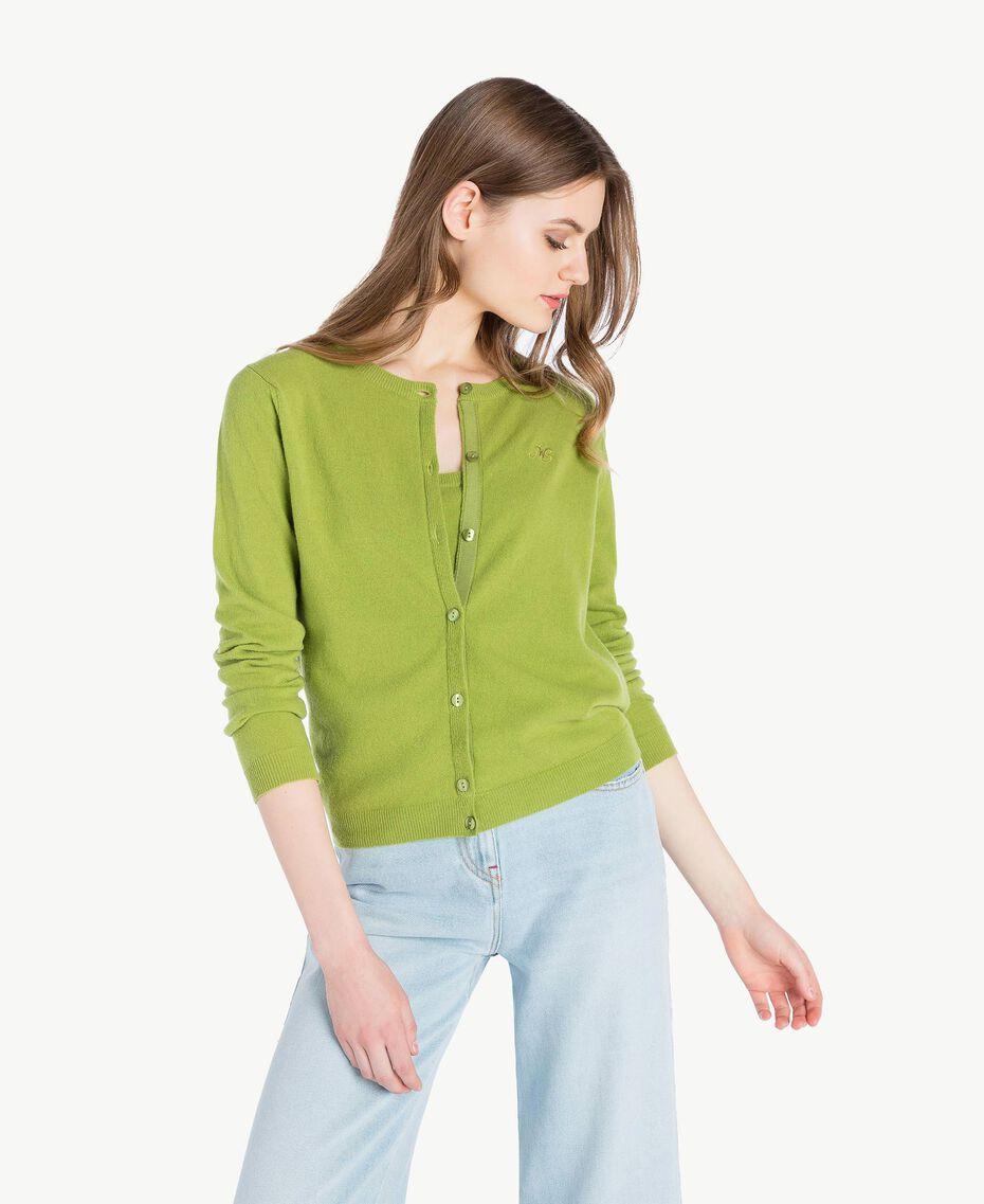 Cashmere mandarin collar jumper Green Pistachio Woman PS83EH-01