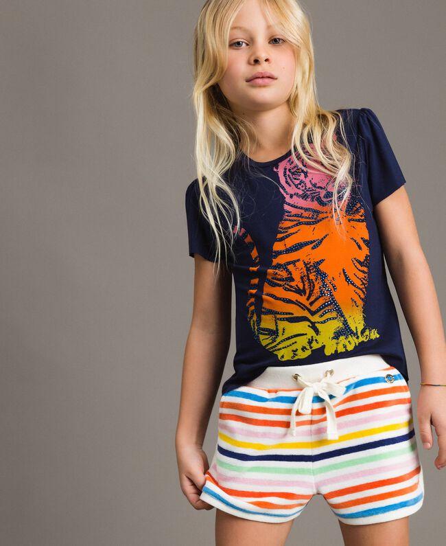 Viscose T-shirt with print and rhinestones Indigo Child 191GJ2450-04