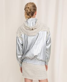 Laminated bomber jacket with bouclé fabric Multicolour Ivory / Silver Grey Woman 201TP2220-05