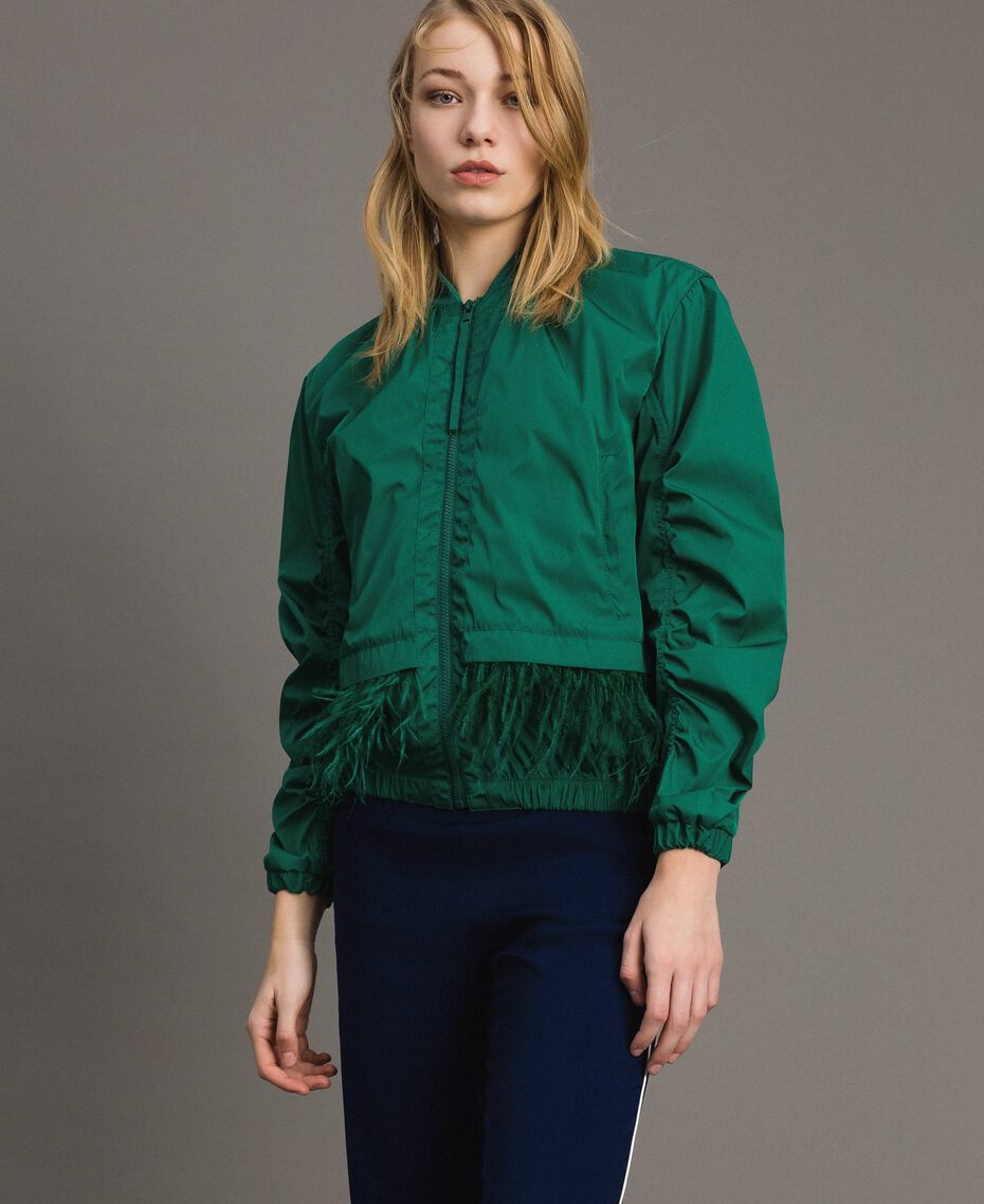 Technical fabric bomber jacket with feathers Evergreen Green Woman 191TP2011-02