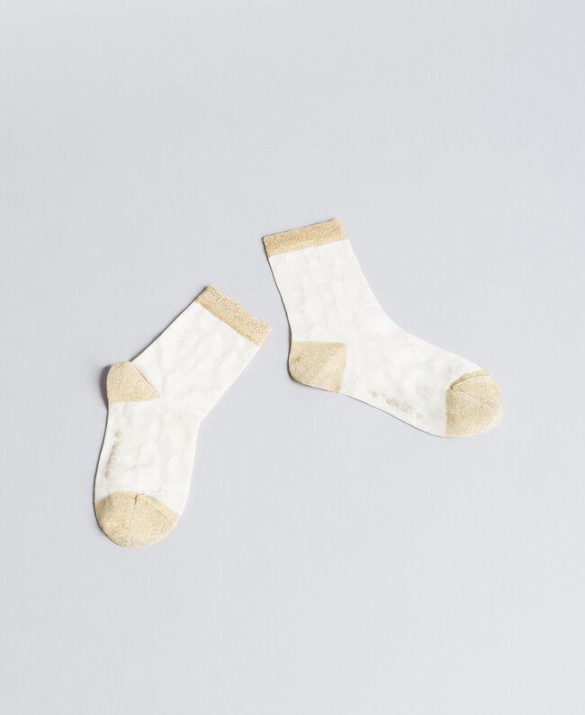 Calze in cotone con lurex Bicolor Oro Chiaro / Off White Bambina GA8ABS-01