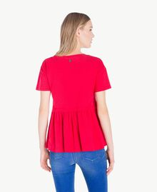 Maxi-T-Shirt mit Stickerei Hochrot Frau JS82RE-03