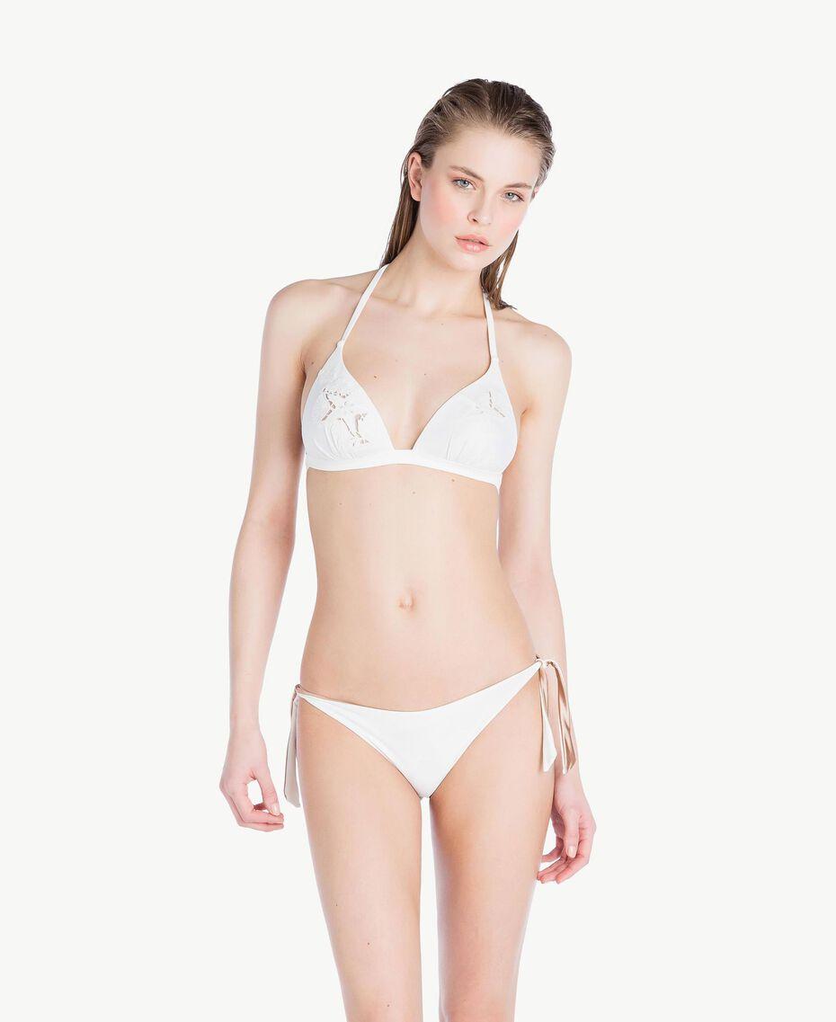 Bikini-Tanga mit Schleifen Elfenbein Frau MS8B88-02