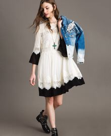 "Georgette dress with lace Bicolour ""Snow"" White / Black Woman 191TT2102-0T"