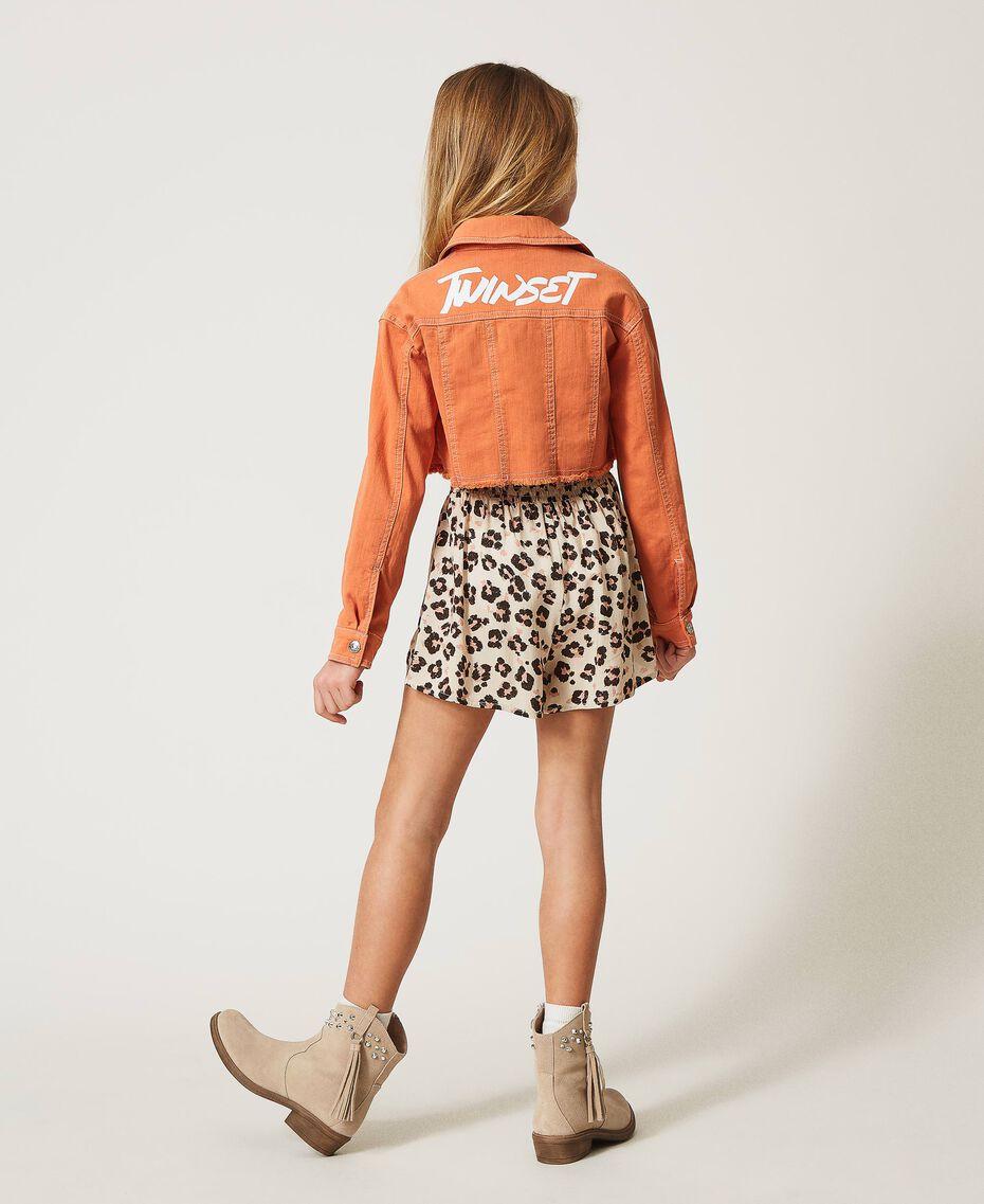 """Cropped bull jacket with logo """"Iceland Poppy"""" Orange Child 211GJ206B-03"""
