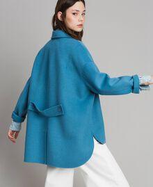 Caban en tissu de laine double Bleu Mykonos Clair Femme 191TP2481-04