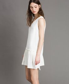 "Mixed silk mini dress with flounce ""Silk"" White Woman 191TP2460-03"