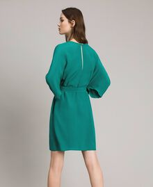 "Silk blend tunic dress ""Pepper Green"" Woman 191TP2147-04"