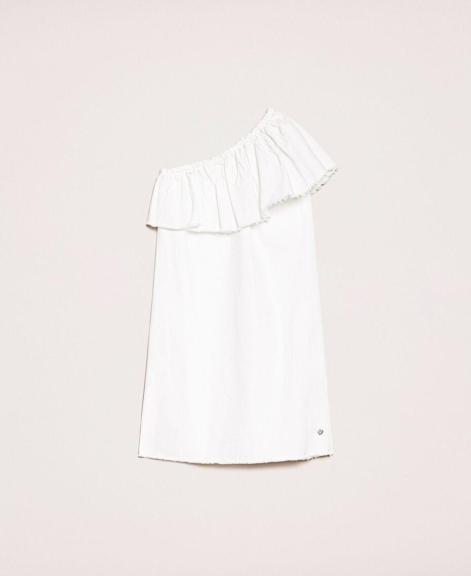 "Robe en jean blanc avec volant Blanc ""Ice"" Femme 201MT2365-0S"