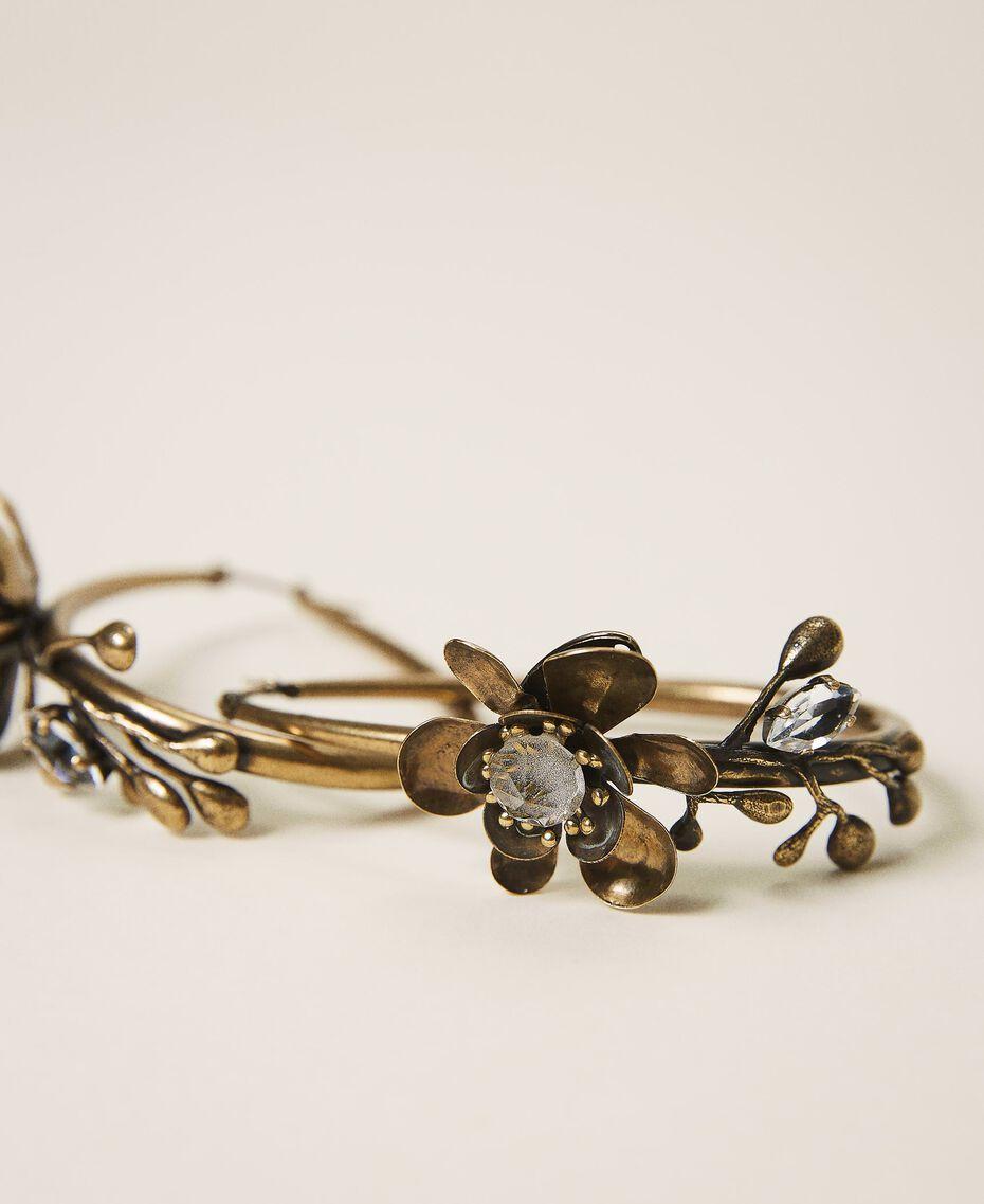 Ohrringe mit Blumen Altmessing Frau 202TO5051-02
