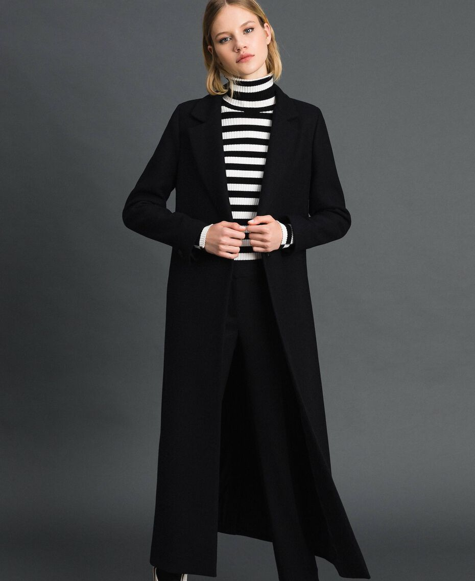 Long wool cloth coat Black Woman 192TP2313-02