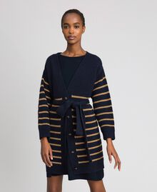 Wool blend maxi cardigan with lurex stripes Midnight Blue Striped / Dark Gold Woman 192TT3361-02