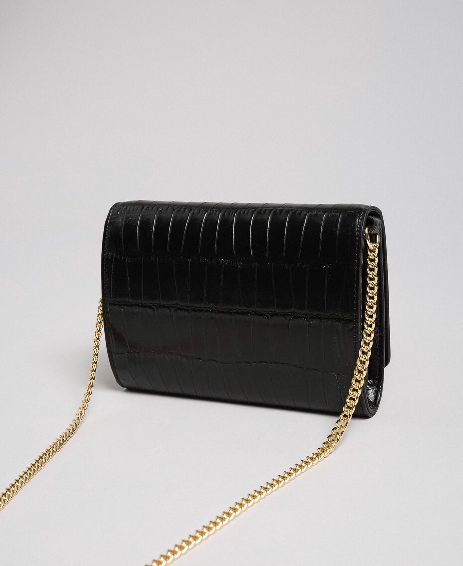 Small printed leather shoulder bag Black Woman 192TO8043-03