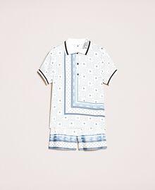 """Pigiama corto in raso con stampa logo Bicolor Blu """"Waterfall"""" / Nero Donna 201LL28BB-0S"""