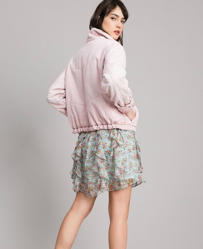 Padded denim jacket Pink Pearl Woman 191TP2340-03