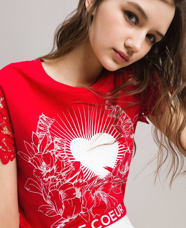 Printed T-shirt with lace Poppy Red Woman 191ST208A-04