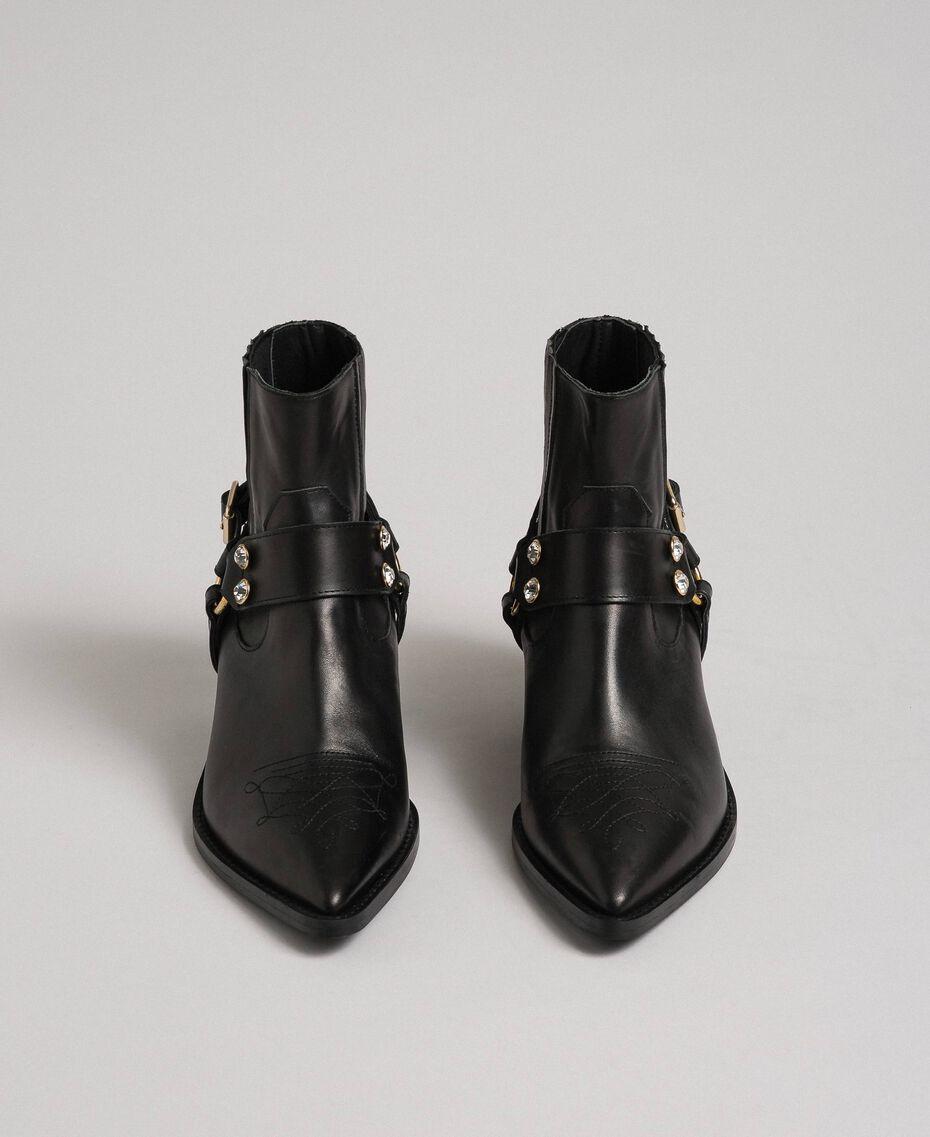 Boots à talons en cuir Noir Femme 192TCP10G-05