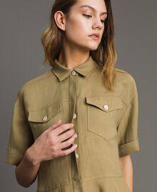 Рубашка из натуральной парусины с оборкой Антикварный Бронзовый женщина 191TT2441-04