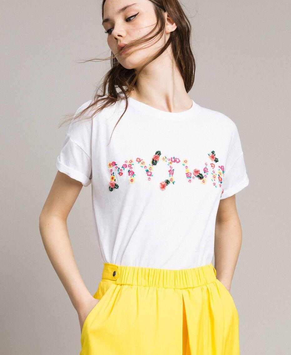 T-shirt avec logo brodé Crème White Femme 191MP2061-01