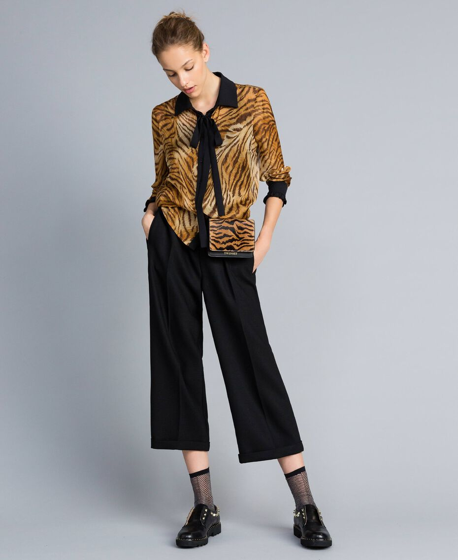 Bi-stretch wool cropped trousers Black Woman TA8271-0T