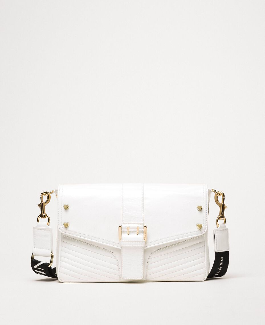 Medium Rebel bag with logo shoulder strap White Snow Woman 201TO823X-02