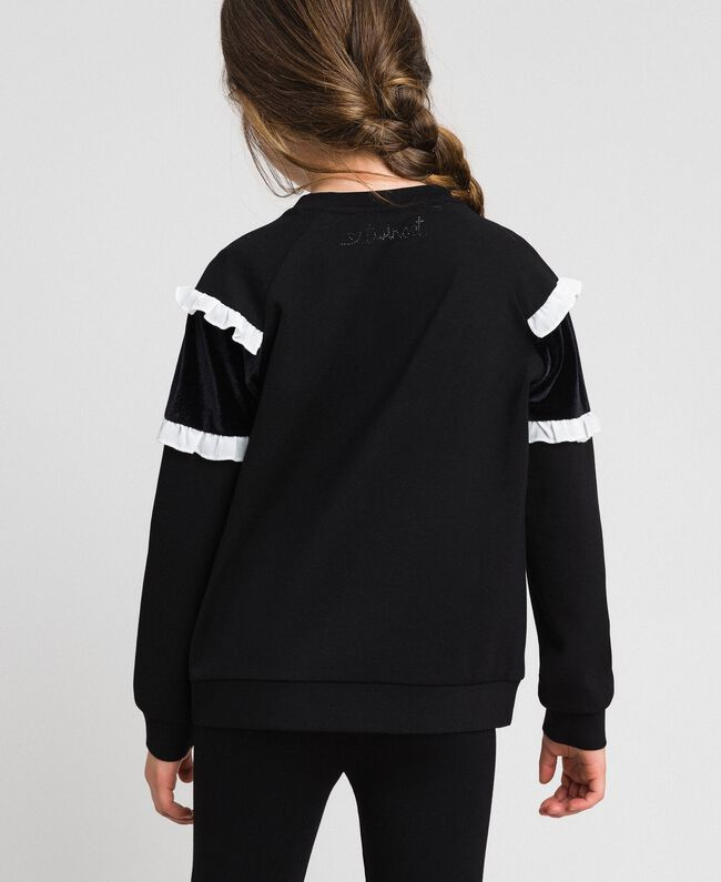 Sweat avec insertion en velours et volants Bicolore Noir / Blanc Enfant 192GJ2469-03