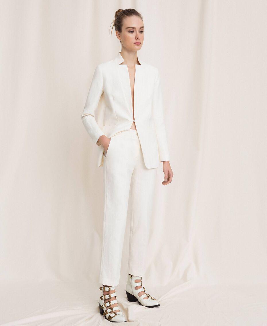 Pantalon cigarette en lin mélangé Blanc Neige Femme 201TP2256-01