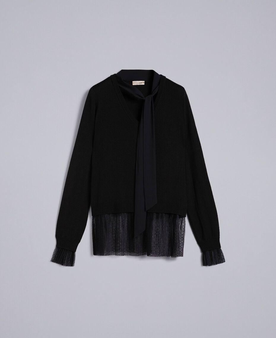 Jersey de lana mixta con tul plisado Negro Mujer SA83AA-0S